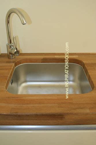 meuble evier cuisine plan de travail sur mesure en teck intégration de vasque