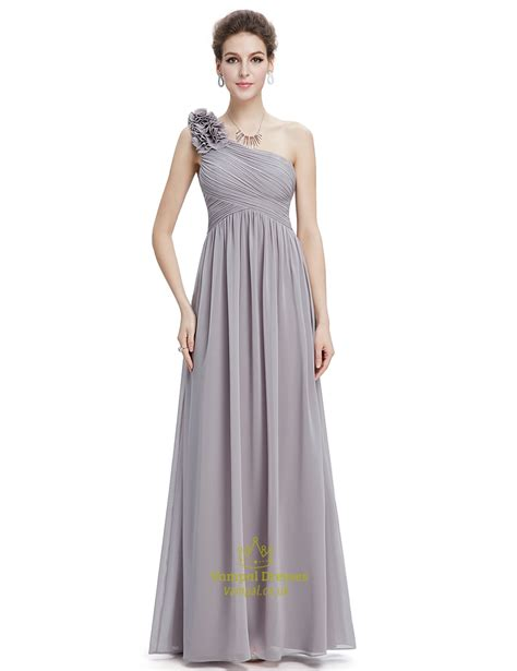 grey chiffon  shoulder flower strap long bridesmaid
