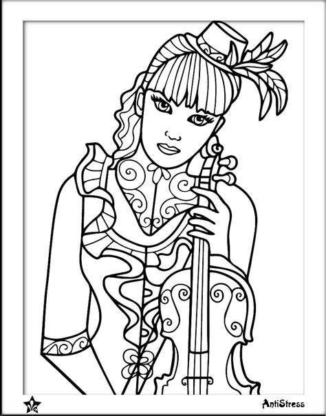 girl  violin coloring page coloring pages adult