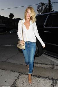 Rosie Huntington-Whiteley wows in white blouse and jeans for LA dinner date | Daily Mail Online