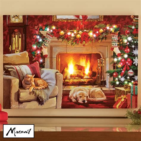 The superbly adorable christmas wall decorations ideas which is made of some popsicle sticks. Christmas Living Room Lighted Canvas Wall Art - Holiday ...