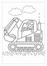 Digger Colouring Printable Surrey East Kid sketch template