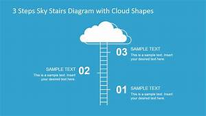3 Steps Sky Stairs Template For Powerpoint