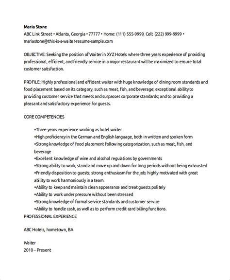 Waitress Resume by 6 Waitress Resume Sles Exles Templates