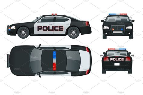 Vector Police Car With Rooftop Flashing Lights, A Siren