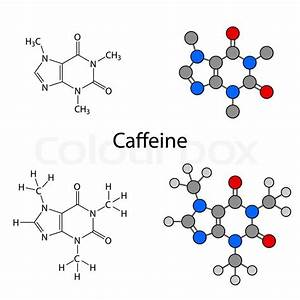 Caffeine molecule - structural chemical formulas and ...