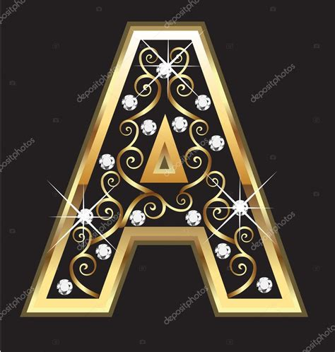 D I N A a gold letter with swirly ornaments stock vector