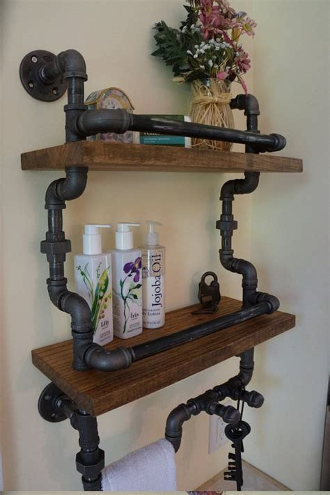 bathroom shelves how to upcycle pipes into industrial diy shelves and Industrial