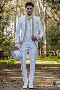 Costume Homme Mariage Blanc : costume de mariage baroque redingote vintage en tissu de brocart floral blanc collier mao avec ~ Farleysfitness.com Idées de Décoration