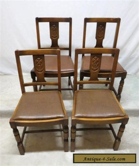 Pub Chairs For Sale by Antique Set 4 Deco Carved Golden Oak Dining Room