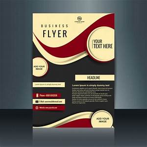 Business Flyer With Circles And Red Waves Vector