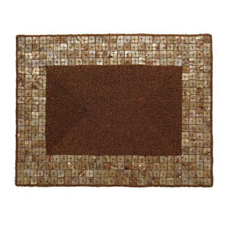 Handmade Placemat Beaded Coffee Glass Bead Shell Edge High