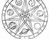 Coloring Pages Pentagram Pentacle Wiccan Pagan Printable Mandala Water Adults Planets Getcolorings Drawing Template Digital Altar Children sketch template