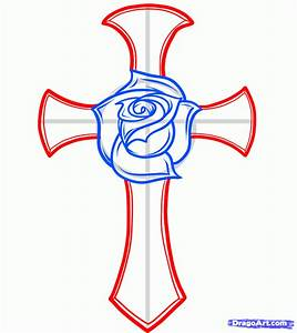 How to Draw a Rose and Cross Tattoo, Step by Step, Tattoos ...
