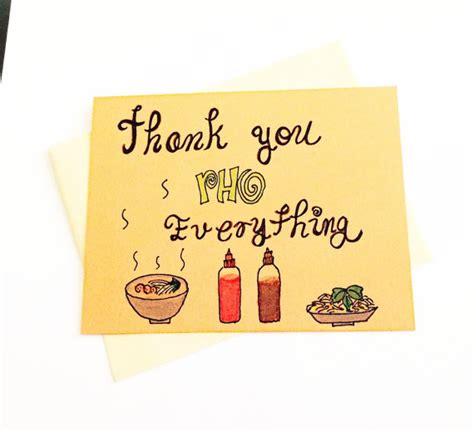 Funny thank you note Thank you pho everything by