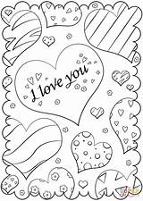 Coloring Card Valentine Valentines Printable Supercoloring Drawing Paper Crafts sketch template