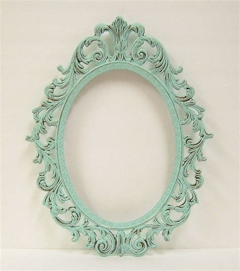 frame shabby chic shabby chic frames mint green oval picture frame vintage baroque wedding home decor baroque