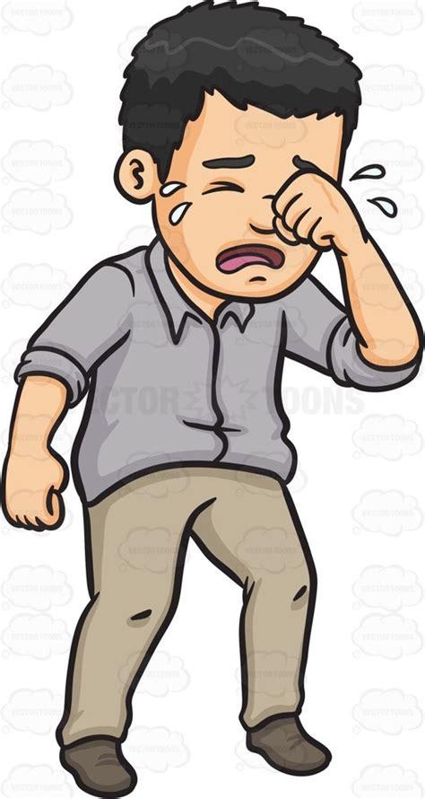 Cartoon Clipart: A Man Wiping Away His Tears