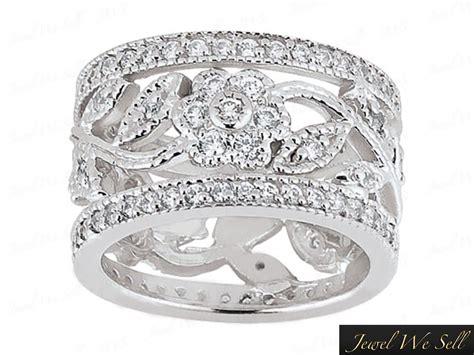 ct  wide flower diamond eternity wedding band
