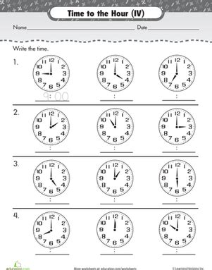 on the hour write the time 2 worksheet education