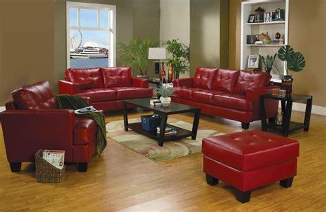 samuel red leather living room set   coaster
