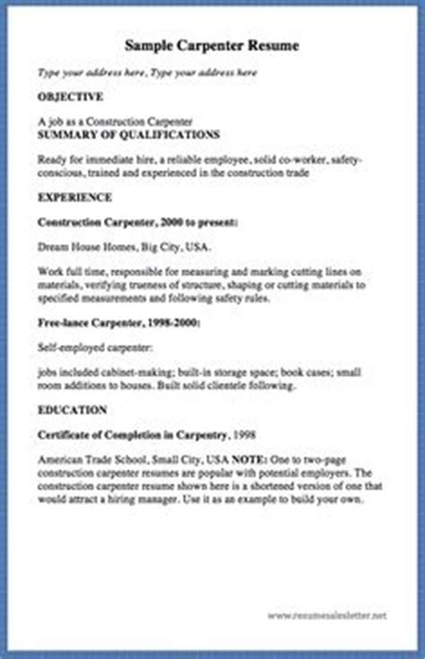 Carpenter Resume Summary by 10 Acting Resume Template For Microsoft Word Http