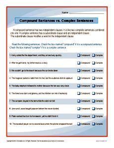 compound complex sentences worksheet thekidsworksheet