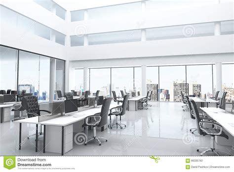 bureau en open space modern office with open space and large windows stock