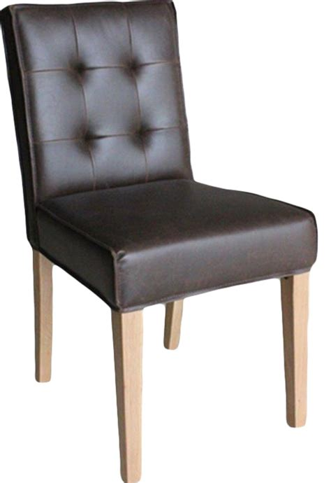 pair of club oak brown faux leather dining chairs