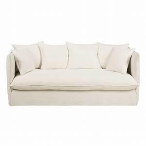 Sofas Maison Du Monde : maison sofa white 3 4 seater washed linen sofa louvre ~ Watch28wear.com Haus und Dekorationen