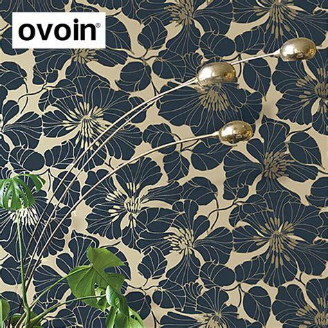 navy bluegreengraywhite modern large floral wallpaper