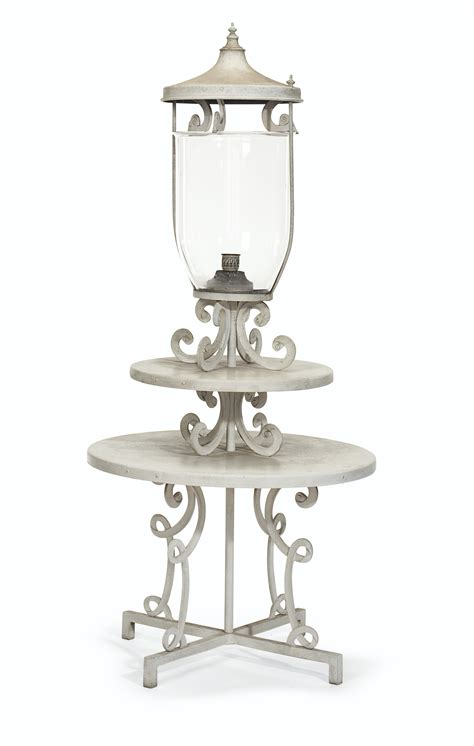 White Metal Etagere by A White Painted Metal Garden Torchere Etagere By William