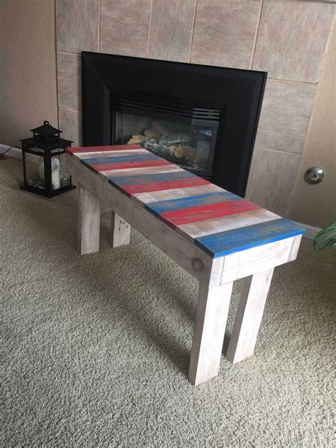 lil red white blue pallet bench  pallets