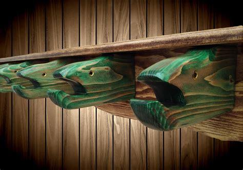 wood fish coat hat rack shelf  fish head hangers display handmade wall mount lake cabin home decor