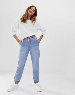 bershka blaue jeans jogginghose asos
