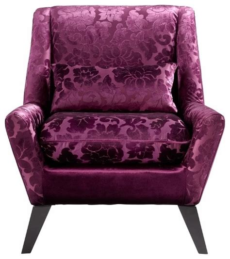 purple floral velvet modern accent chair transitional