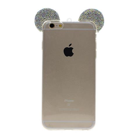 cases for iphone 6s fashion mickey mouse rhinestone ears cell phone cover 13758