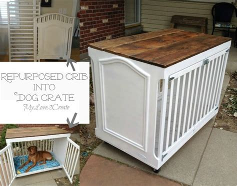 hometalk repurposed crib dog crate