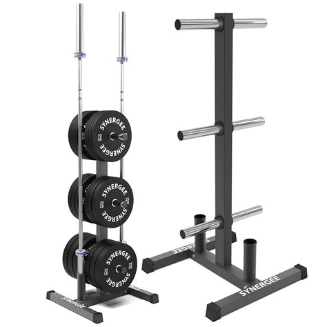 synergee olympic weight plate tree rack barbell holder vertical weight rack  gym storage