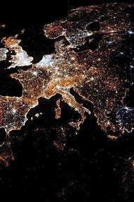 Europe at Night From Space View