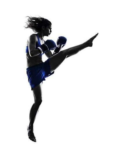 Silhouette Kickboxing Boxing Woman Muay Thai Boxer