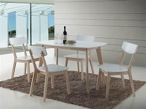 Ensemble table et 4 chaises contemporain coloris chene for Deco cuisine avec achat chaise