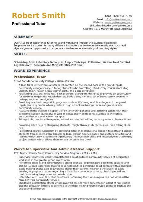 Tutoring Resume by Professional Tutor Resume Sles Qwikresume