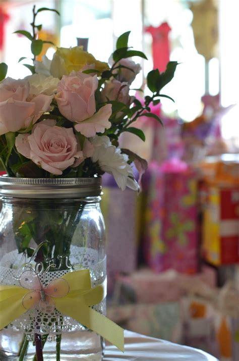 Pink And Yellow Mason Jars Centerpieces Babyshower Party