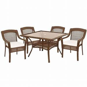 hampton bay spring haven brown 5 piece patio dining set With spring haven furniture home depot