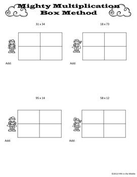 box area method for multiplication practice pages by fifth in the middle