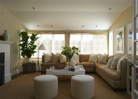 beautiful transitional living room with camel l shaped