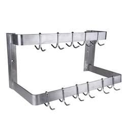 stainless steel pot rack regency 24 quot wall mounted commercial line stainless steel pot rack with galvanized hooks