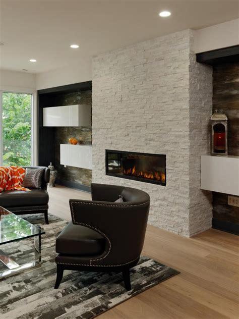 modern living room  white brick fireplace hgtv