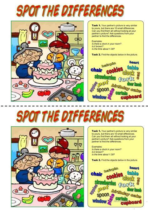 spot  differences happy birthday worksheet  esl